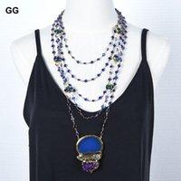 Collares colgantes Joyas de Guaiguai 5 Strands 18 '' Blanco Pearl Blue Crystal Cadena Murano Glass Beads Collar Agate Hecho a mano para las mujeres
