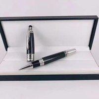 Luxus hochwertiger schwarzer Carbon Fibra blaue fessliche Stift Rolelrball Kugelschreiber mit JFK Carving Logo Marke Produkt @Yamalan