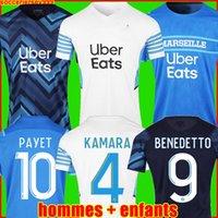 Marseille Olympique De Maillots de football 21 22 OM 2022 2021 maillot de foot PAYET THAUVIN BENEDETTO maillots homme + kit enfants enfant de la soccer jerseys troisième