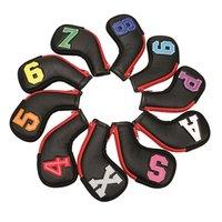 Clubes Cabeças de golfe Putter HeadterCovers / Club Coberturas impermeáveis PU Rod Haste Cabeça Capa 10 Pçs / Grupo Zipper Fechamento