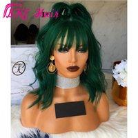 """14 """"verde oscuro brasileño brasileño peluca frontal de encaje de encaje corto wal peluca negro / marrón / rosa peluca sintética para mujeres blancas con flequillo franja"""