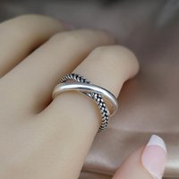 Trendy X Cross Twist Three Magic Ring Thin Stacking Skinny Spacer Rings Twisted Silver Color Set Modernist Cluster