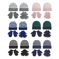 Caps & Hats Children's Striped Knitted Wool Hat Glove Set For Boys Girls Warm Baby Toddler Suitable Outdoor Sports Skiing H3CD