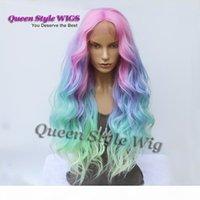 Sirène pastel pente arc-en-ciel perruque synthétique arc-en-ciel couleur rose violet bleu fluorescent vert ombre cheveux en dentelle avant perruque sirène cosplay perruque