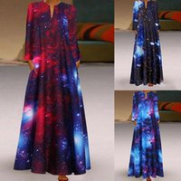 Casual Dresses 40# Women Plus Size Dress Boho Print Daily Long Sleeve Vintage Bohemian V Neck Fashion Elegant Maxi Tunic Vestidos