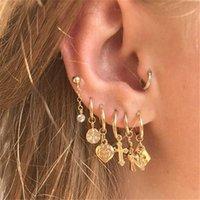 Vintage Gold Ball Cross Heart Geometric Earring Sets for Women Gift Punk Fashion Crystal Pearl Stud Earrings Jewelry 2021