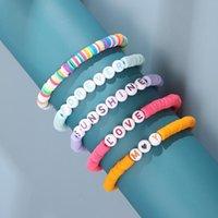 Beaded Strands Boho Handmade Polymer Clay Bracelet for Women Men Colorful Letters Beads Love Heart Bangles 2021 Summer Jewelry