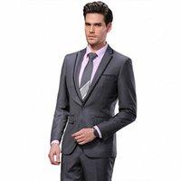 2016 Darouomo Erkekler Suits Slim Özel Fit Smokin Gri Suit ve Pantolon Marka Moda Iş Elbise Düğün Suits DR8618-3 Y6UC #