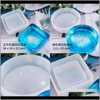 DIY Moldes de resina de resina de la resina de cristal Glue Glue Pequeño Cenicero redondo Molde blanco Translúcido Translúcido 7 5 5ly ZJFPS VGLZS