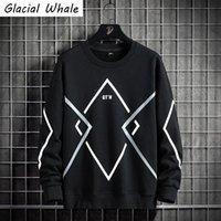 Men's Hoodies & Sweatshirts GlacialWhale Mens Crewneck Sweatshirt Men Winter 2021 Striped Casual Oversized Streetwear Hip Hop