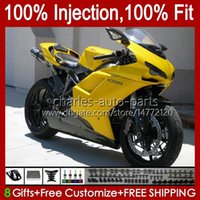 Injection Bodys For DUCATI 1198R 848 1098 1198 S R 2007 2008 2009 2010 2011 2012 18No.66 Bodywork 848S 1098S 1198S 848R 1098R 07 08 09 10 11 12 OEM Fairing Kit Gloss Yellow