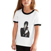 T-shirts Svart Butler Anime Tonårskontrast Stitching Fashion Short Sleeve Tshirt Mens Womens T Shirts