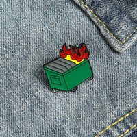 Cute Dustbin Enamel Brooches Pin for Women Girl Fashion Jewelry Accessories Metal Vintage Brooches Pins Badge Wholesale Gift