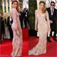 Sexy Zuhair Murad long Sleeve Evening Dresses Gowns Mermaid Lace Tulle Sheer Prom Dresses Celebrity Red Carpet Dress With Crew Neckline