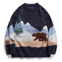 Mäns Tröjor Höst Harajuku Stickad tröja Hip Hop StreetWear Snow Mountain Polar Bear Mens Stora Pullover Män Kläder