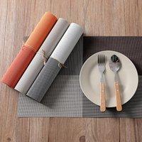 테이블 러너 Placemats PVC 매트 컬러 블록 식용 디스크 패드 코스터 Mantel Napperon 30 * 45cm 플레이트 바 타구 드 루가