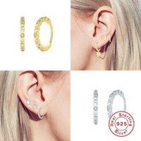Boucles d'oreilles en hoop en diamant incrusté pour femmes 925 Sterling Sterling Simple Huggie Hip Bijoux Accessoires en gros