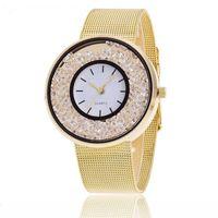 Designer Luxury Brand Watches Minhin Design Rostfritt stål Guld Rose Silver Färger Armband WTach Women Rhinestone Mesh Band Quartz