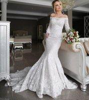 Beteau Neck Long Sleeves Mermaid Wedding Dresses Lace Appliques Court Train Plus Size Beach Bridal Gowns Vestidos De Novia