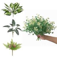 النباتات النضرة الاصطناعية الأخضر يترك محاكاة العصارة باقة اليشم القلب ورقة النباتات وهمية بونساي فرع ل ديكور المنزل ديكور فلوريدا