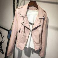 Women's Jackets Fashion Pink Cropped PU Leather Women Korean Style Spring Turn-Down Collar Basic Coat 2021 Female Motorcycle