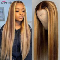 Highlight Wig Brown Colored Human Hair Wigs 13X4 13X6x1 Ombre Straight Lace Front Wig Highlight Lace Front Human Hair Wigs