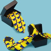 Men Women Funny Yellow Duck Printed Necktie Imitation Silk Cosplay Party Business Suit Ties Neckwear Show MY28 21 Dropship H1018