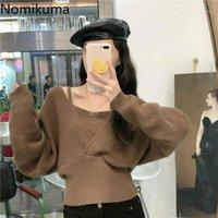 Nomikuma 2020 Novo curto curto magro mulheres pulôver malha manga comprida v-pescoço sexy strapless tops de malha coreano pull femme 6c4881