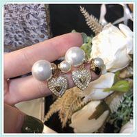 Bayan Küpe Takı Lüks Tasarımcılar Küpeler Markalar Altın Kulak Çiviler Pearl 925 Ayar CD Ring Des Bougles D'Oreilles Bougles 21042201D
