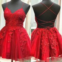 2022 Red Short Prom Dresses Spaghetti Straps Sexy Backless Criss Cross Lace Applique Beaded Tulle Custom Made Plus Size Mini Cocktail Evening Party Gowns vestidos