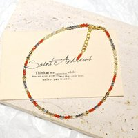Anklets Lii Ji Carnelian Citrine Hematite 14K Gold Filled Beaded Anklet 24+3cm Crystal Handmade Jewelry For Women Gift