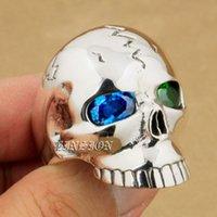 Cluster Rings 925 Sterling Silver Huge Heavy Blue + Green CZ Eyes Skull Mens Boys Biker Rock Punk Ring 9M409 US Size 8~15
