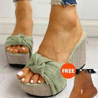 Sandals Sandálias femininas sem cadarço, com plataforma para o verão, sapatos de salto alto, chinelos das mulas, mulheres, presente grátis, O2V2