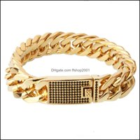 """Link, Bracelets Jewelrymens Jewelry High Quality Gold Color Stainless Steel Double Link Curb Chain White Crystal Bracelet 15Mm8.66"""" Drop Del"""