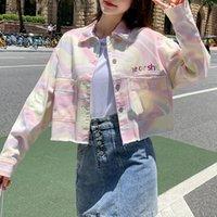 Women's Jackets 2021 Spring Autumn Denim Jacket Tie-dye Long Sleeve Streetwear Casual Short Slim Jeans Coat Tops Fashion Outerwear