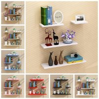 Other Home Decor 4pcs Minimalist Style Wooden Floating Shelves Wall Decoration Flower Pot Tray TV Background Holder Art Crafts Display Stand
