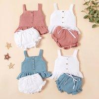 Designer Mode Barnkläder Designer Sommar Ins Baby Girls Linne Kläder Ställ Barn Suspender Vest Ruffle Topps + Shorts 2pcs / Set Out