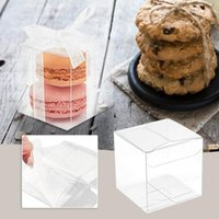 Gift Wrap 10pcs Transparent Box Single Cake Storage Boxes With White Ribbon Plastic Candy Packing Bag Party Supplies Cookie