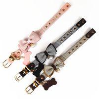Розовые плед жемчужные ошейники собаки поводки набор ювелирных украшений ювелирные изделия дог.