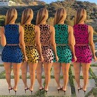 Летние женские леопарда для леопарда напечатанные купальники сексуальные дамы без рукавов Уровень выростки бюстгальтер + шорты двухсекционные купальники костюм кружев наряды G36ywwy