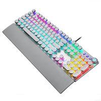 RGB Teclado mecánico Streaming Punk Style Backlit Gaming Keyboard Teclas de suspensión Panel de metal con control de luz y descanso de muñeca