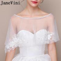 Wraps & Jackets JaneVini Beaded Flowers Bollero Wedding Bolero Lace Women Formal Shawl Short Tulle Shrug Bridal Cape Bride Stoles 2021
