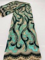 Grüne Farbe Nigeria Samt Pailletten Französisch Spitze Stoff Hohe Qualität für Hochzeitskleid
