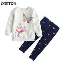 2pcs Abbigliamento per bambini Set di abbigliamento per neonati Abiti invernali Stampa manica lunga T-shirt e pantaloni Butterfly Bambini Abbigliamento casual Abbigliamento