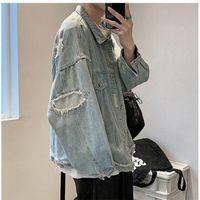 Men's Jackets GODLIKEU Summer Hole Street Jean Coat Spring Autumn Korean Trend Clothes Cowboy Denim Ripped Jacket