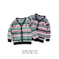 Pullover 2021 Autumn winter Korean Children's Long-sleeved Jacket Big Boys' Striped V-neck Cardigan Coat Knitting Jackets