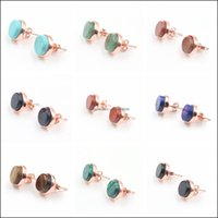 Jewelrynatural Gem Ball Stud Tiger Eye Turquoise Black Onyx Agate Crystal Earrings Jewelry, Suitable For Women And Girls Drop Delivery 2021