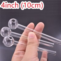Clear Handcraft Pyrex Glass Oil Burner Pipe 4inch 10cm Mini Smoking Hand Pipes Thick Glass Pipe wholesale Dhl free