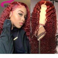 Kırmızı Renk 13x4 Dantel Ön Sentetik Peruk Öncesi Klumped Derin Kıvırcık Dantel Ön Peruk Doğal Saç Çizgisi Derin Bölüm Brezilyalı Wig150