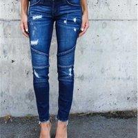 Jeans High Waist Pieghettato Matita elastica Piccolo foot Hole Donna